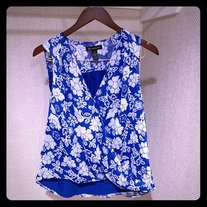 INC blue and white floral short sleeve to size M